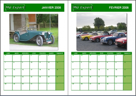 Calendrier MG 2008